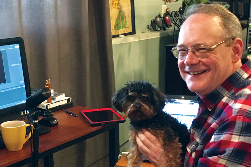Dr. Darin Stephenson, Department of Mathematics and Statistics with his dog, Radar.